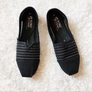 Bobs Black Slip Ons Size 10